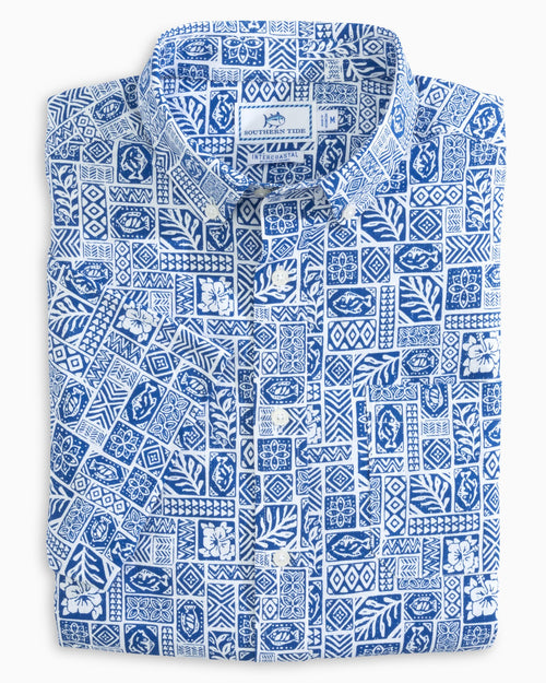 Island Print Performance Short Sleeve Button Down Shirt | Southern Tide