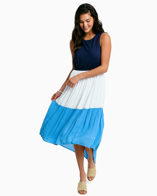 The front view of the Women's Sailer Colorblock A-Line Dress by Southern Tide