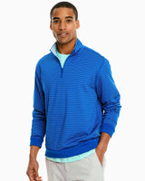The front view of the Men's Sangrillo Striped Reversible Performance Quarter Zip Pullover by Southern Tide