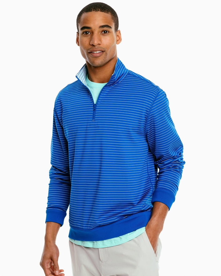 Sangrillo Striped Reversible Performance Quarter Zip Pullover