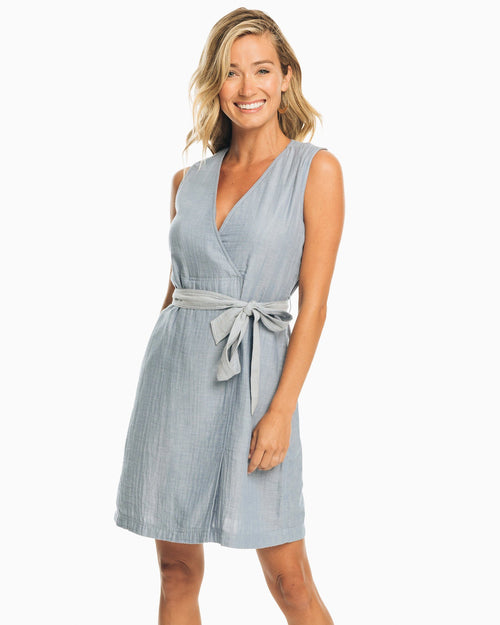 The front view of the Women's Blue Saruh Sleeveless Chambray Dress by Southern Tide