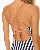 The front of the Women's Seagoing Stripe Strappy One Piece Swimsuit by Southern Tide