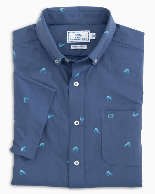 The folded view of the Men's Shrimp Print Intercoastal Short Sleeve Button Down Shirt by Southern Tide