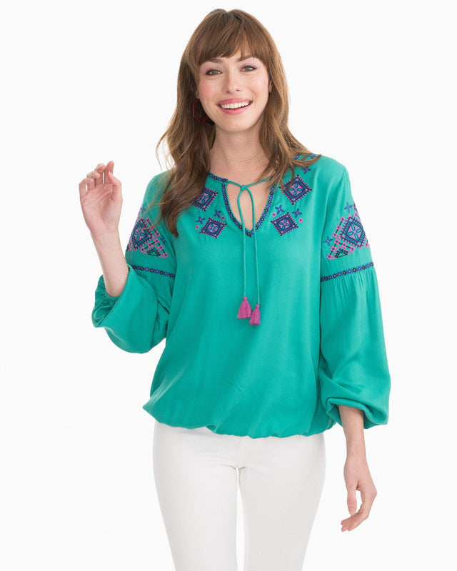 Sienna Embroidered Top | Southern Tide