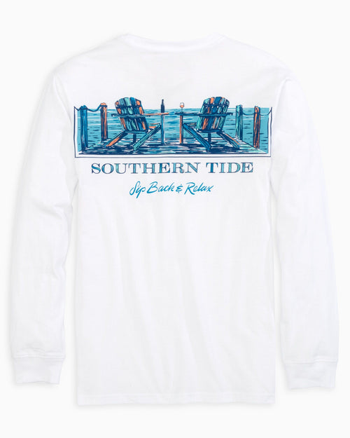 The back view of the Women's White Sip Back Long Sleeve T-Shirt by Southern Tide