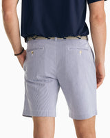 The front view of the Men's Navy Skipjack 9 Inch Striped Short by Southern Tide