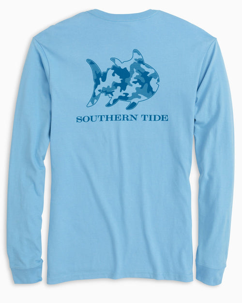 The back view of the Men's Blue Skipjack Camo Long Sleeve T-Shirt by Southern Tide