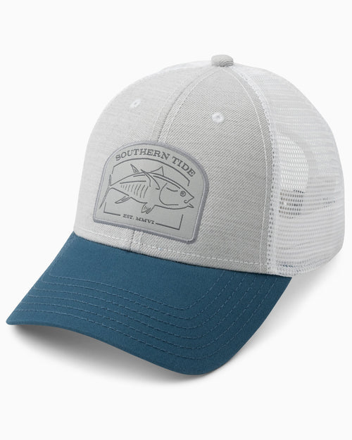 The front view of the Men's Skipjack Catch Patch Trucker Hat by Southern Tide