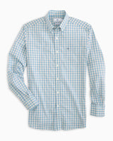 The folded view of the Men's Skipjack Mini Check Button Down Shirt by Southern Tide