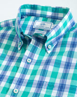 The folded view of the Men's Green Short Sleeve Skipjack Multi Check Sport Shirt by Southern Tide
