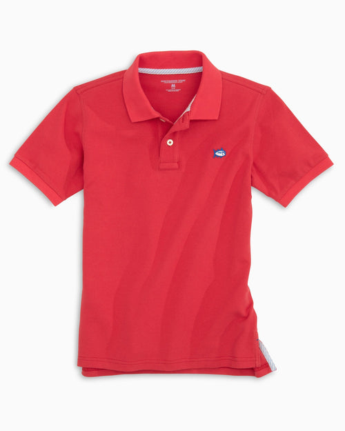 The front view of the Kid's Red Skipjack Polo Shirt by Southern Tide