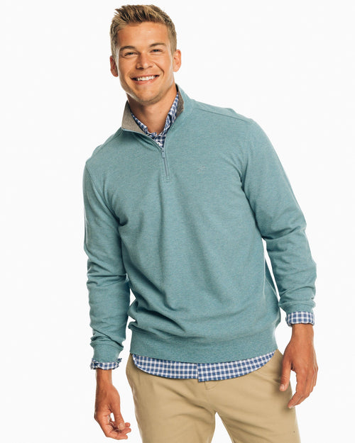 The front view of the Men's Light Blue Skipjack Quarter Zip Pullover by Southern Tide