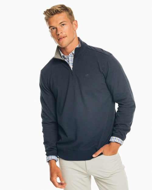 The front view of the Men's Navy Skipjack Quarter Zip Pullover by Southern Tide