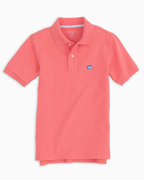 The front view of the Kid's Pink Skipjack Polo Shirt by Southern Tide