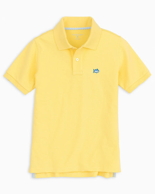 The front view of the Kid's Yellow Skipjack Polo Shirt by Southern Tide