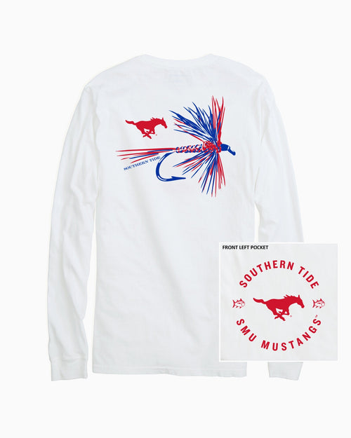 The back view and pocket detail of the Men's White SMU Mustangs Fly Long Sleeve T-Shirt by Southern Tide