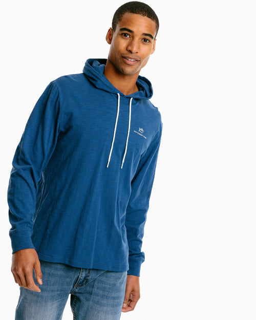 The front of the Men's South Shore Sun Farer Long Sleeve Hoodie T-Shirt by Southern Tide