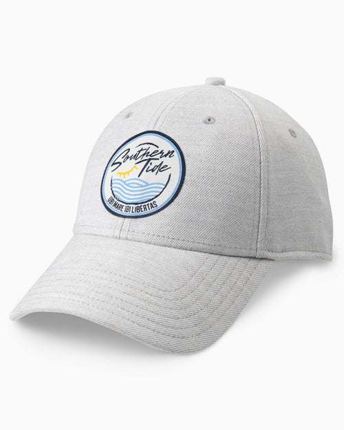 The front view of the Men's Grey Southern Sea Snapack Hat by Southern Tide