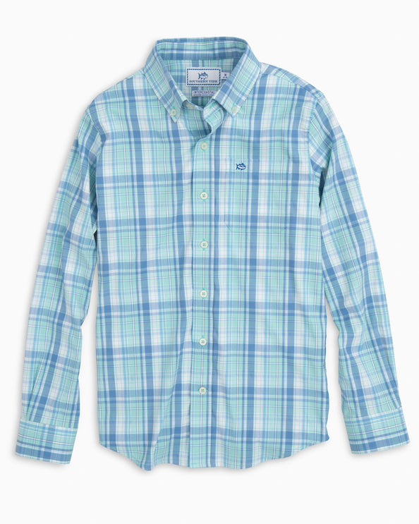 Boys Beach Lagoon Intercoastal Plaid Shirt