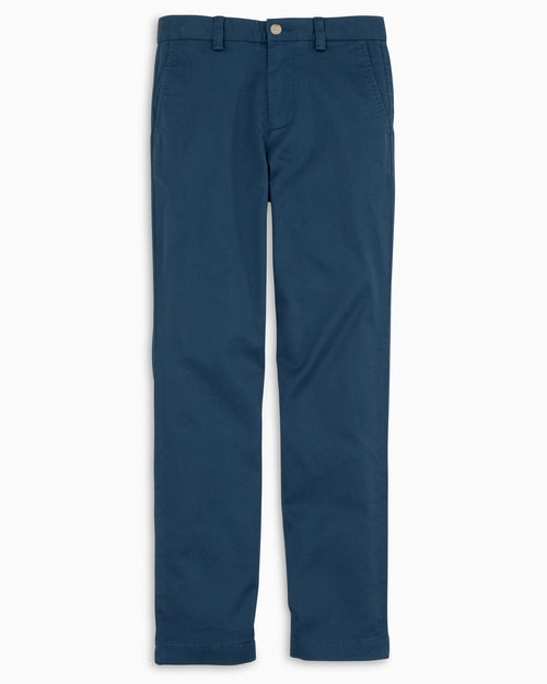 The front view of the Kid's Navy Channel Marker Chino Pant by Southern Tide