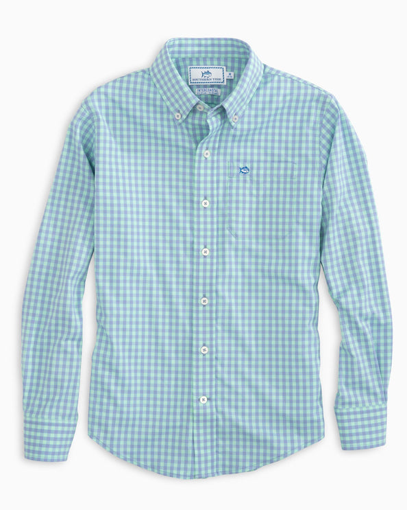 Image of Boys Dunecrest Gingham Intercoastal Performance Shirt
