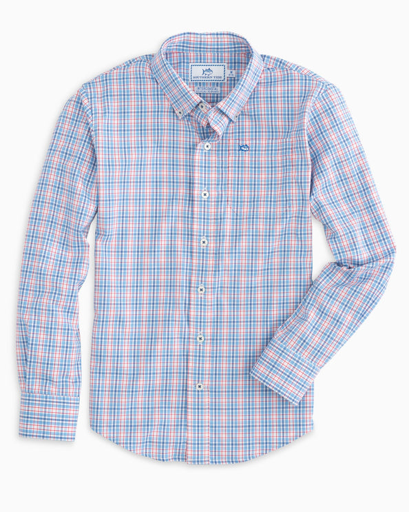 Image of Boys Freedom Rocks Plaid Intercoastal Performance Shirt