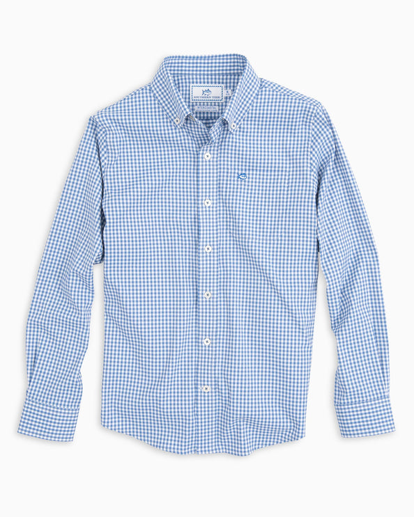 Boys Intercoastal Gingham Button Down Shirt