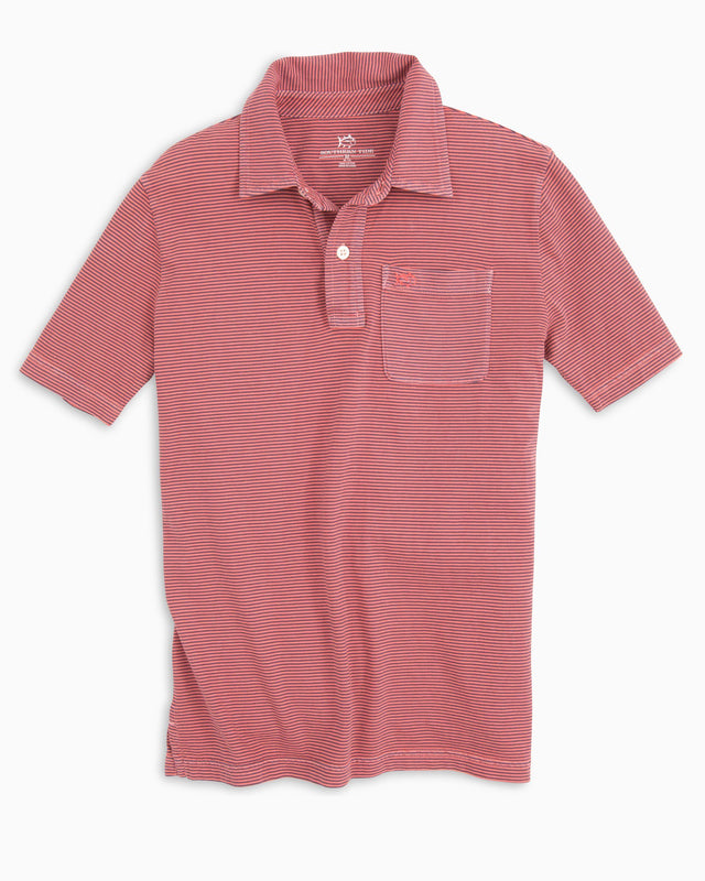 Boys Micro Stripe Island Road Jersey Polo Shirt | Southern Tide