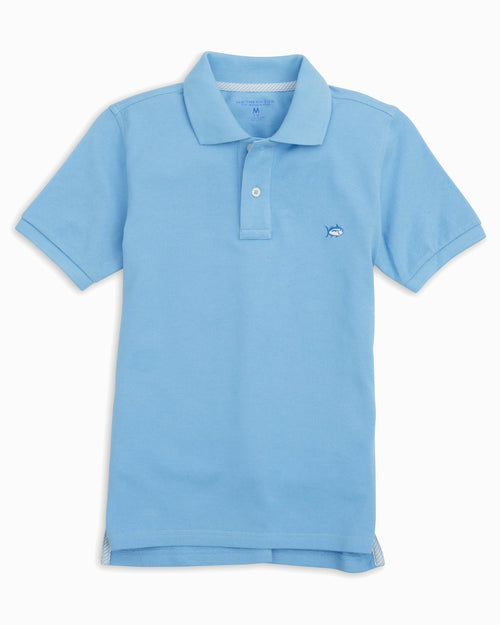 The front view of the Kid's Blue Skipjack Polo Shirt by Southern Tide