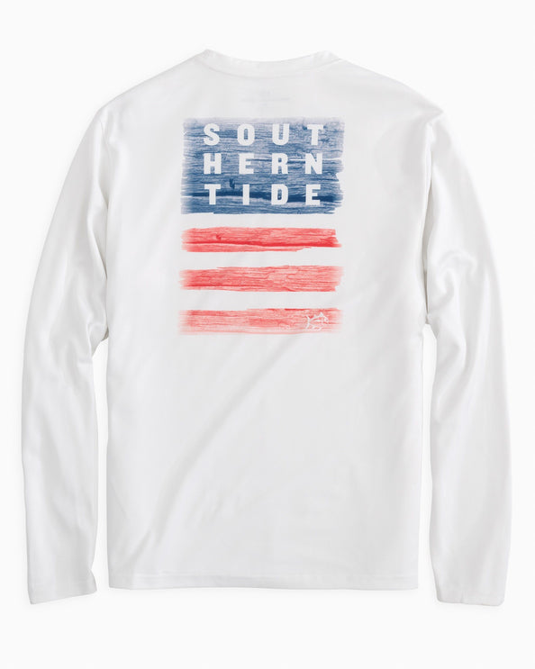 Distressed Wood Flag Long Sleeve Performance T-shirt