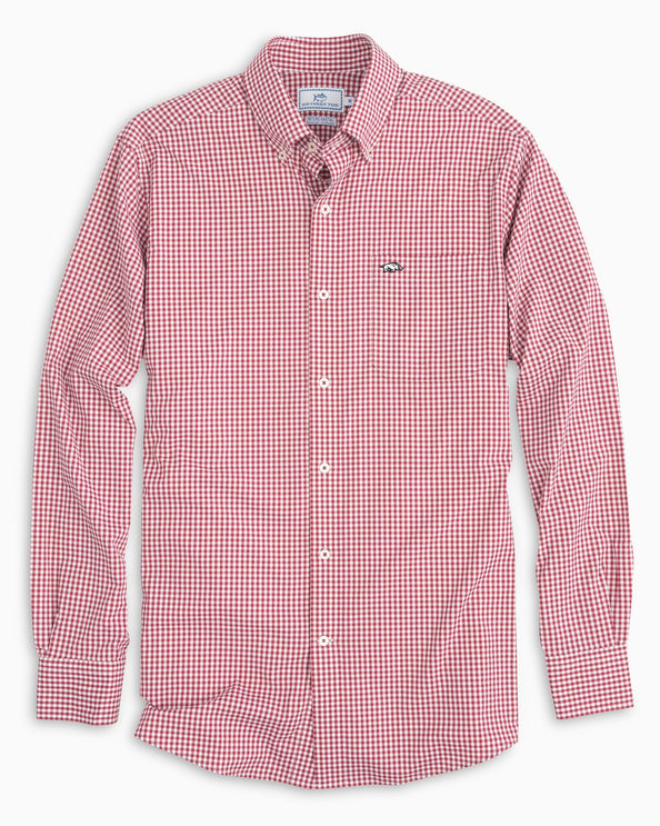 Arkansas Razorbacks Gingham Button Down Shirt