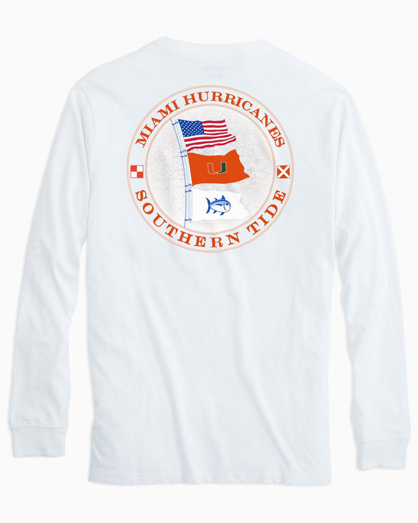 Miami Hurricanes Flags Long Sleeve T-Shirt