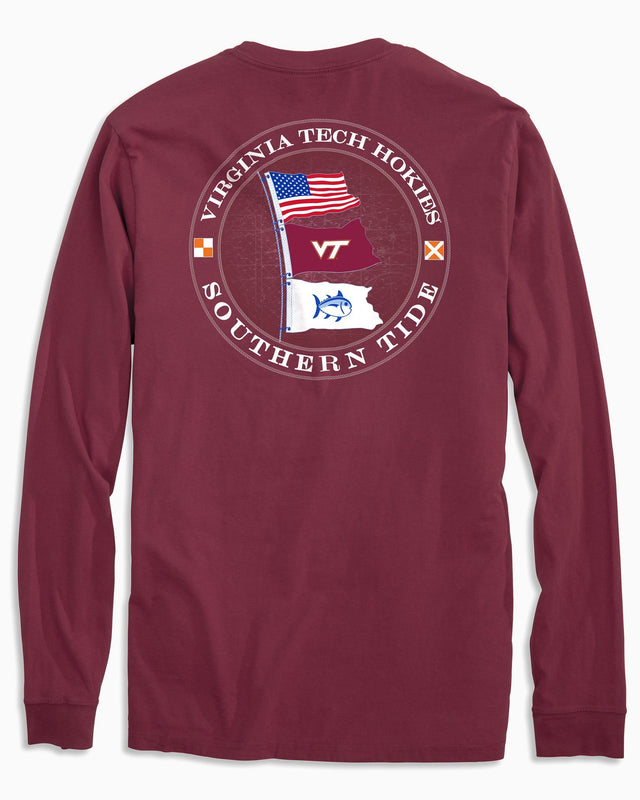 Virginia Tech Hokies Flags Long Sleeve T-Shirt | Southern Tide