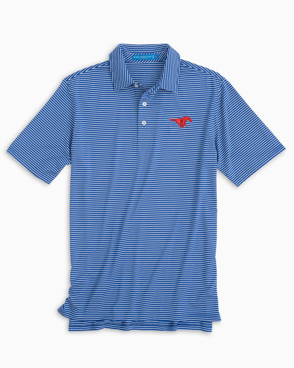 SMU Mustangs Striped Polo Shirt