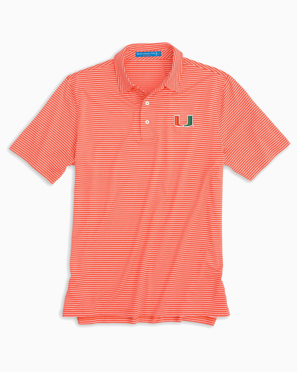 Miami Hurricanes Striped Polo Shirt