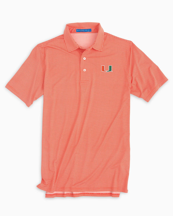 Miami Hurricanes Plaid Polo Shirt