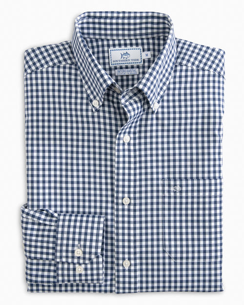 The front view of the Men's Navy Gingham Intercoastal Performance Sport Shirt by Southern Tide