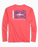 Great White Fish Flag Long Sleeve Performance T-shirt