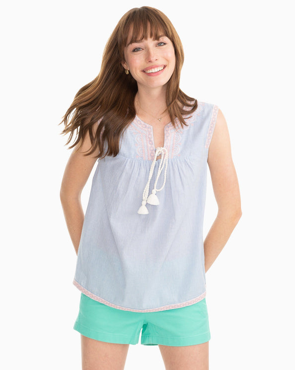 Jill Embroidered Sleeveless Top
