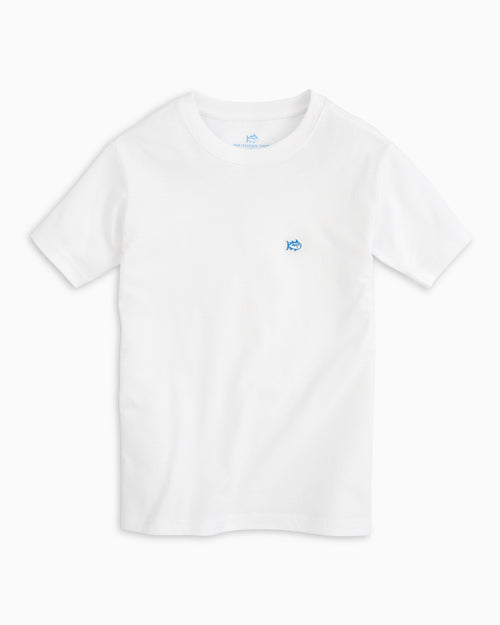 The front view of the Kid's White Embroidered Skipjack T-shirt by Southern Tide