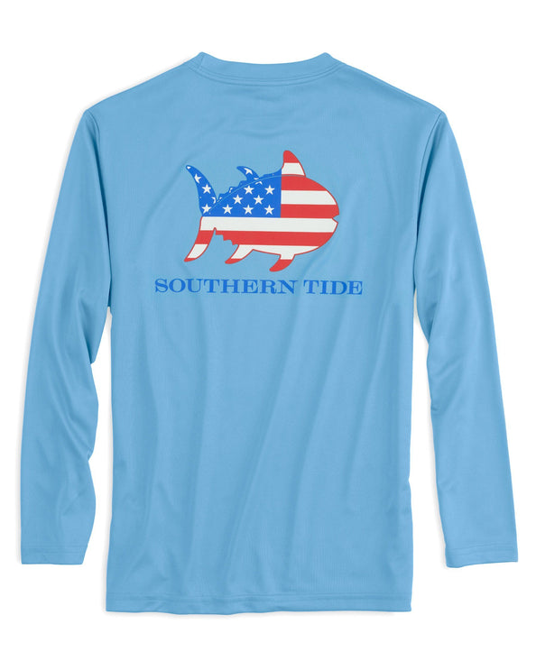 Image of Kids Flag Skipjack Long Sleeve Performance T-shirt