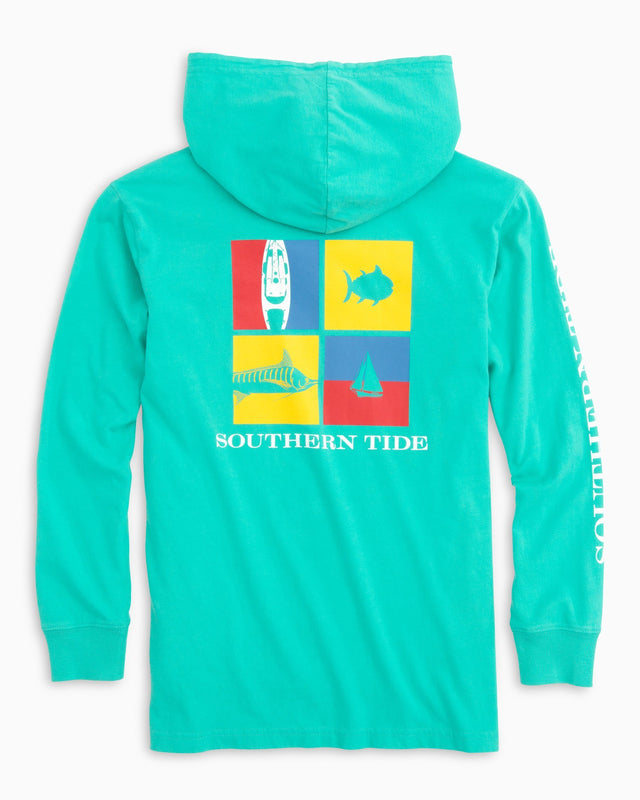 Kids Nautical Flags Long Sleeve Hoodie T-shirt | Southern Tide