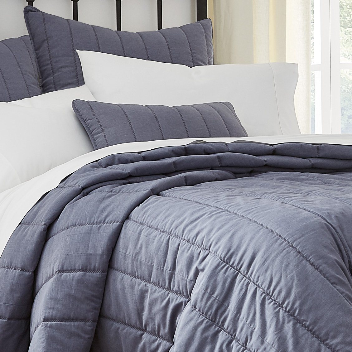 Blue Grey Chambray Quilt Linville Southern Tide