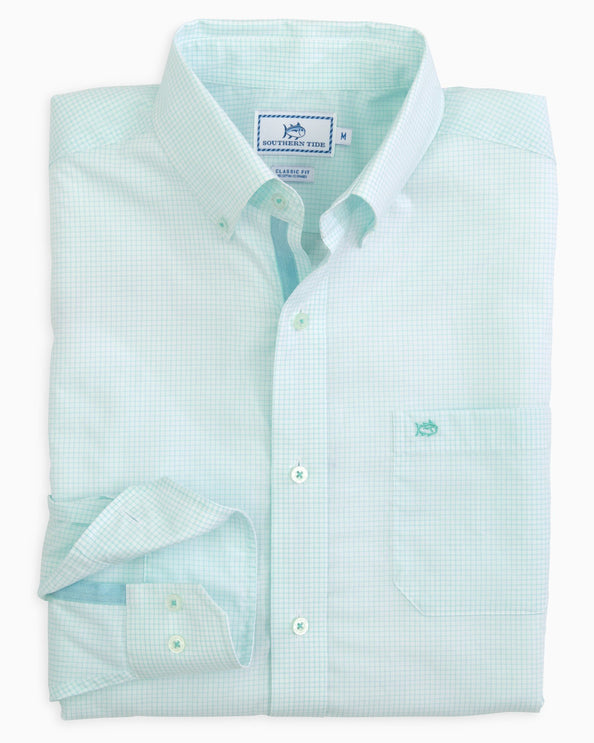 Adrift Tattersall Herringbone Placket Sport Shirt