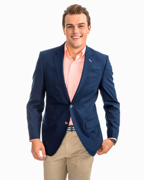The front view of the Men's Navy Charleston Navy Sport Coat by Southern Tide