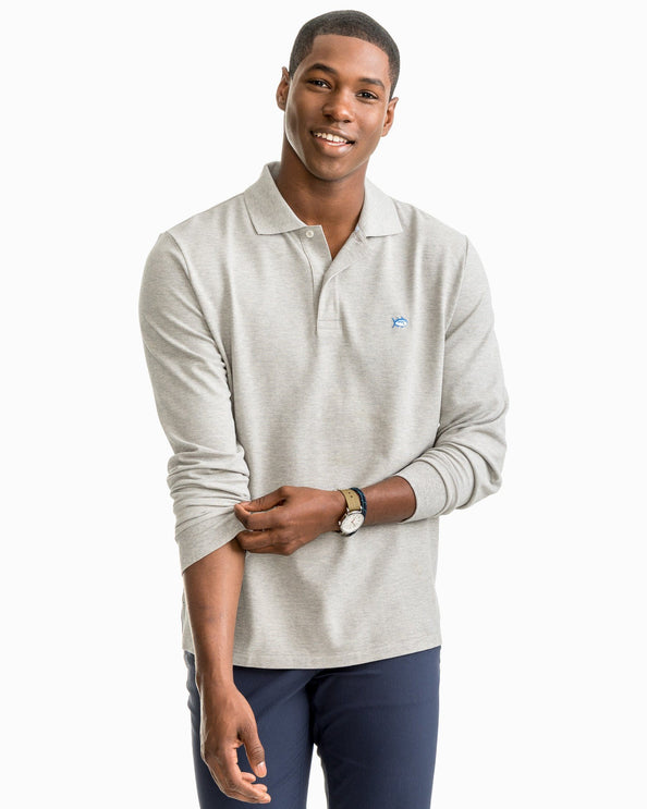 Heathered Skipjack Long Sleeve Polo Shirt