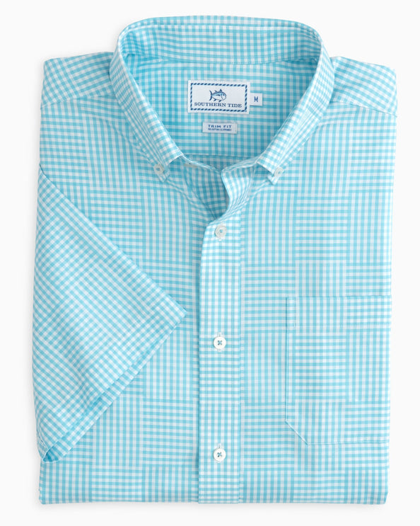Palmetto Point Gingham Short Sleeve Button Down Shirt