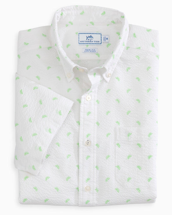 Pick Up Limes Seersucker Short Sleeve Button Down Shirt