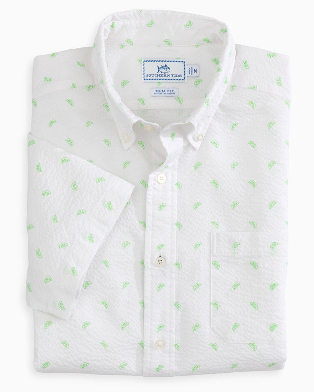 Pick Up Limes Seersucker Short Sleeve Button Down Shirt | Southern Tide