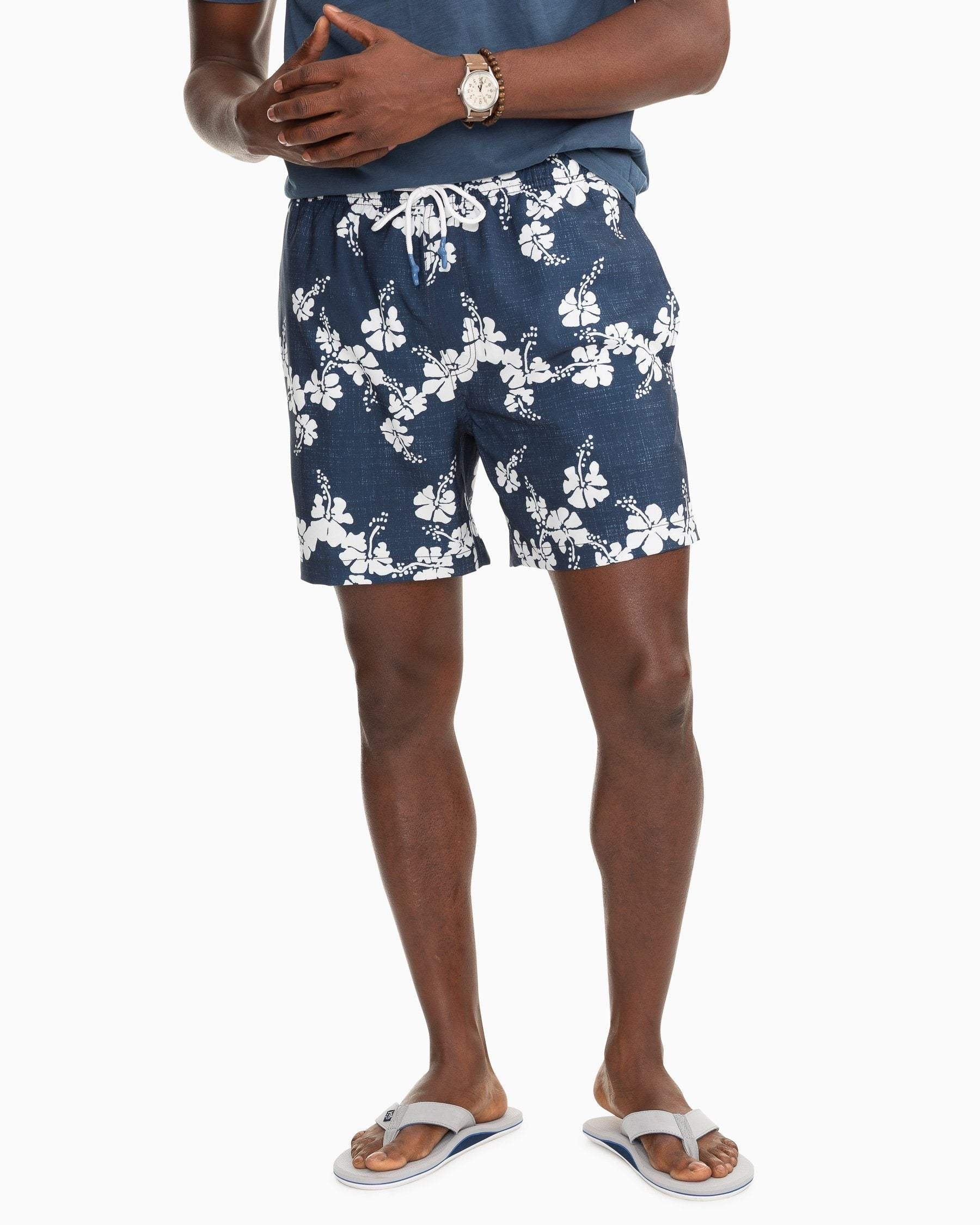 Blue White Hibiscus Flower Mens Beach Shorts Swimming Trunks Dry Fit Board Short with Mesh Lining